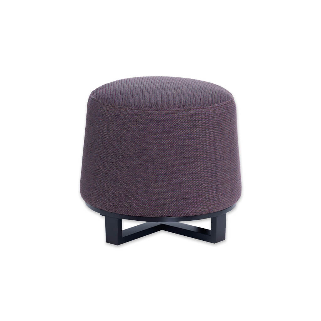 Immo purple round ottoman fully upholstered with wooden cross legs to the base 10002 OT1 - Designers Image