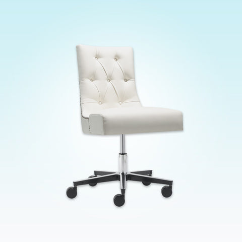 Isabella Buttoned Back White Leather Desk Chair with Adjustable Swivel Base and Studding 5006 DC1