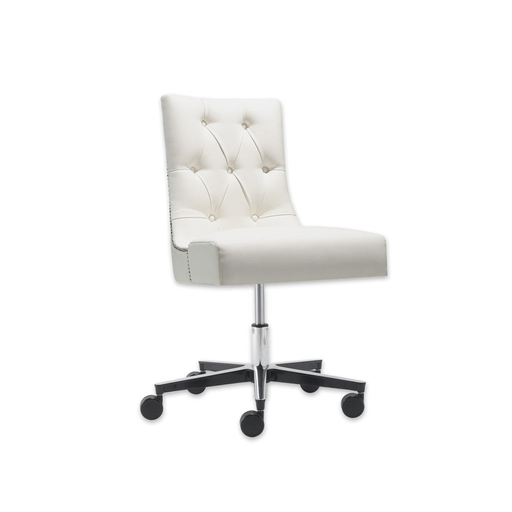 Isabella Buttoned Back White Leather Desk Chair with Adjustable Swivel Base and Studding 5006 DC1 - Designers Image