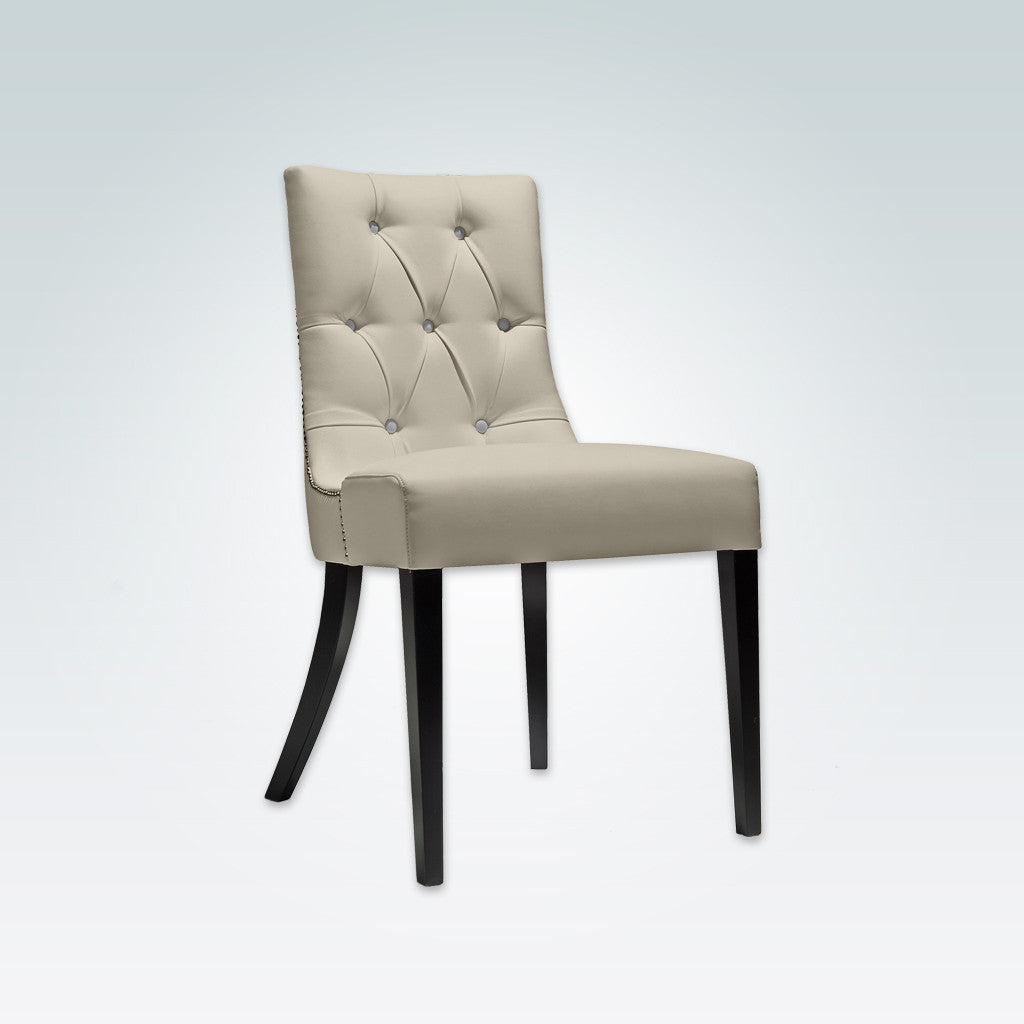 Isabella Cream Button Back Chair Leather Upholstered Seat  with Splayed Back Legs and Edge Studding 3027 RC1