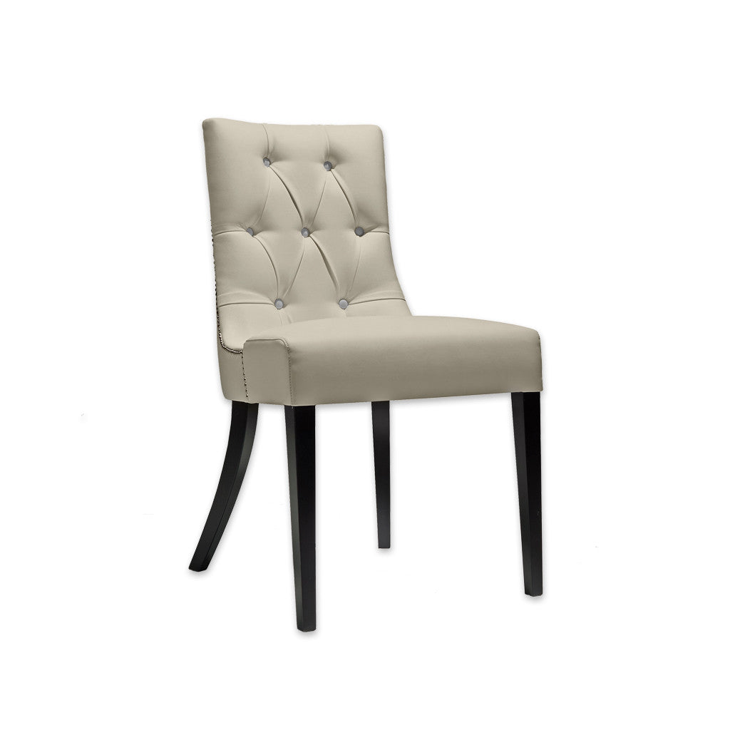 Isabella Cream Button Back Chair Leather Upholstered Seat  with Splayed Back Legs and Edge Studding 3027 RC1 - Designers Image