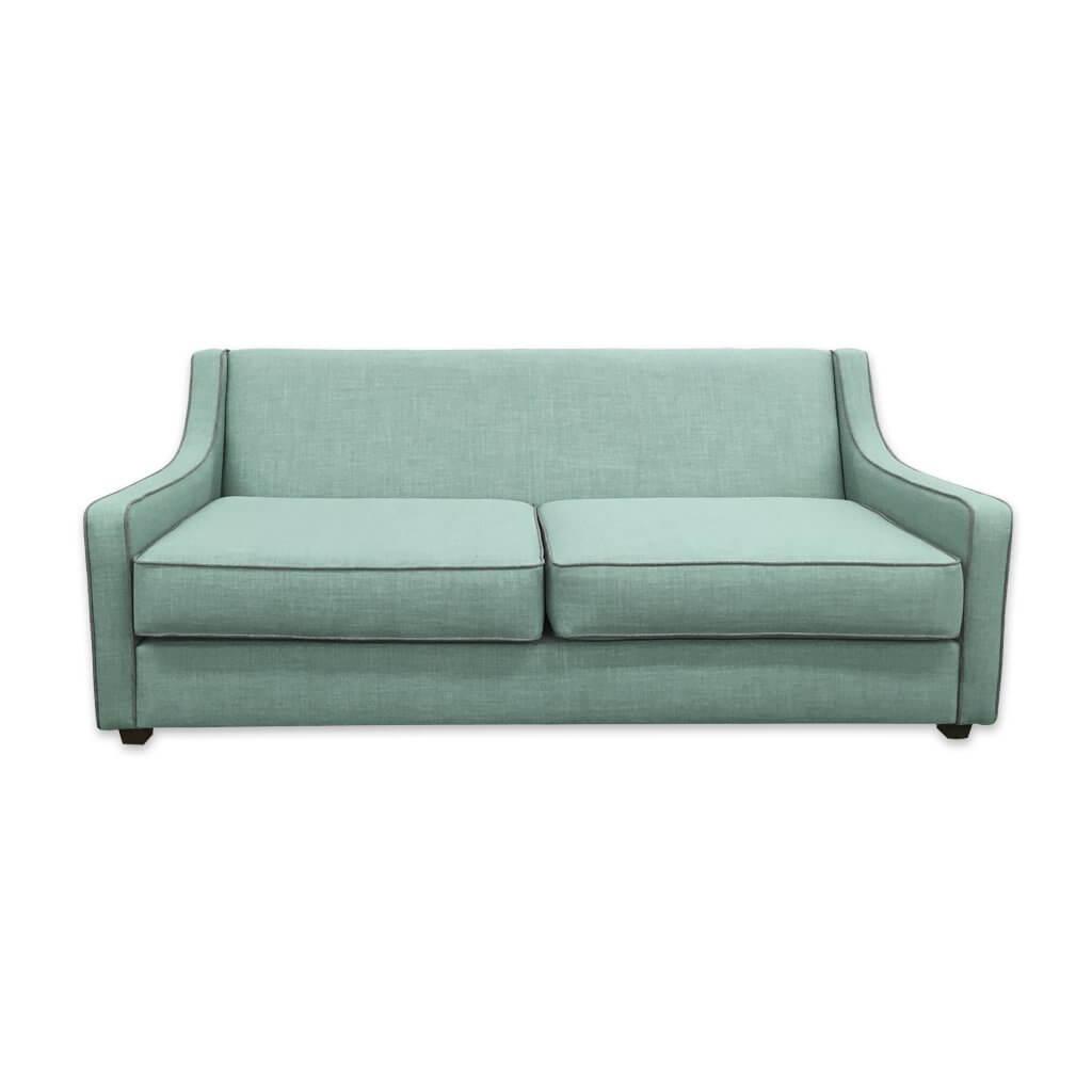 Jacobi modern light green sofa bed with contrasting piping to the low arms and seat cushions 9002 SB1 - Designers Image