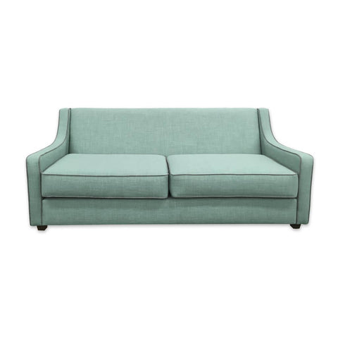 Jacobi modern light green sofa bed with contrasting piping to the low arms and seat cushions 9002 SB1