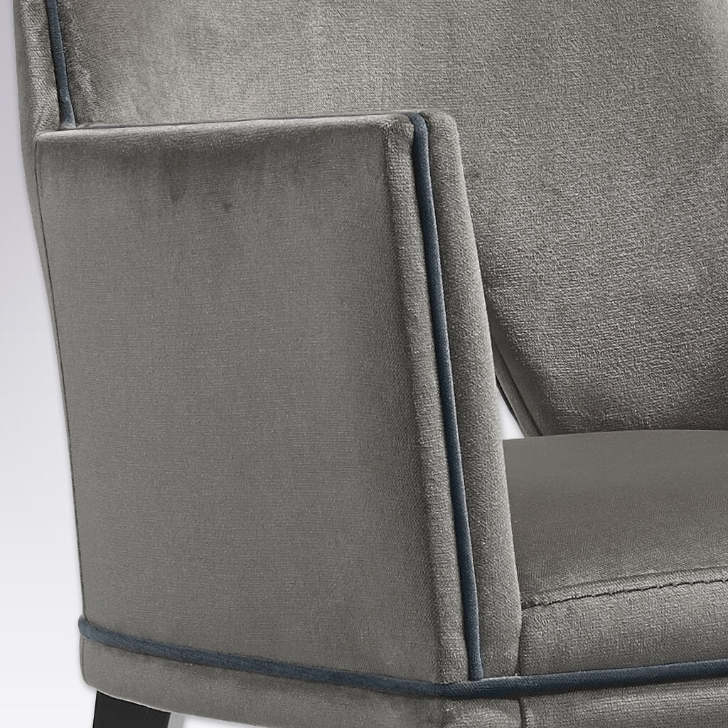 Jade Dark Grey Geometric Retro Dining Chair with Cut Out Back Detail 4020 AC1 - Close Up