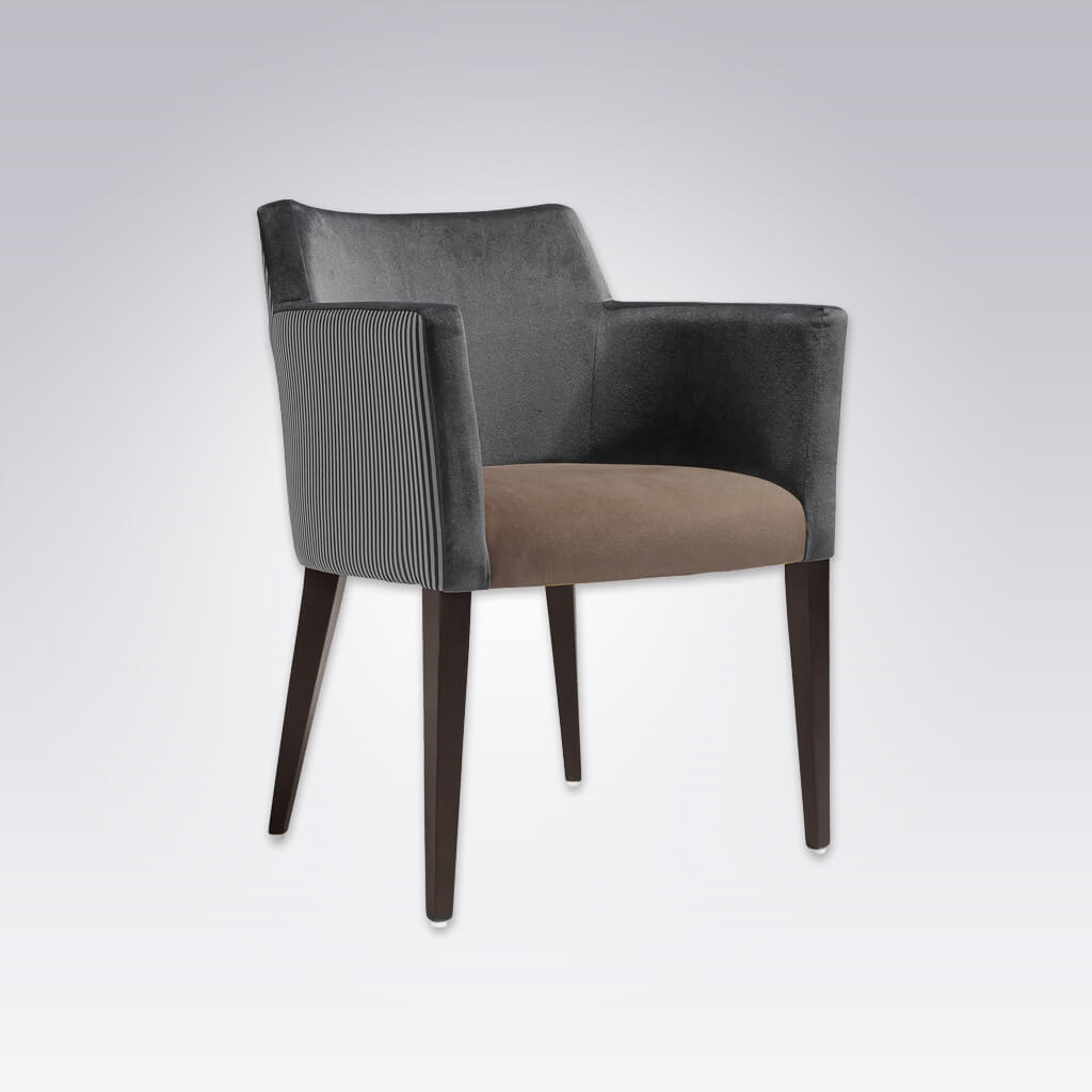 Jade Retro Grey Velvet Armchair with Show Wood Legs 4020 AC2