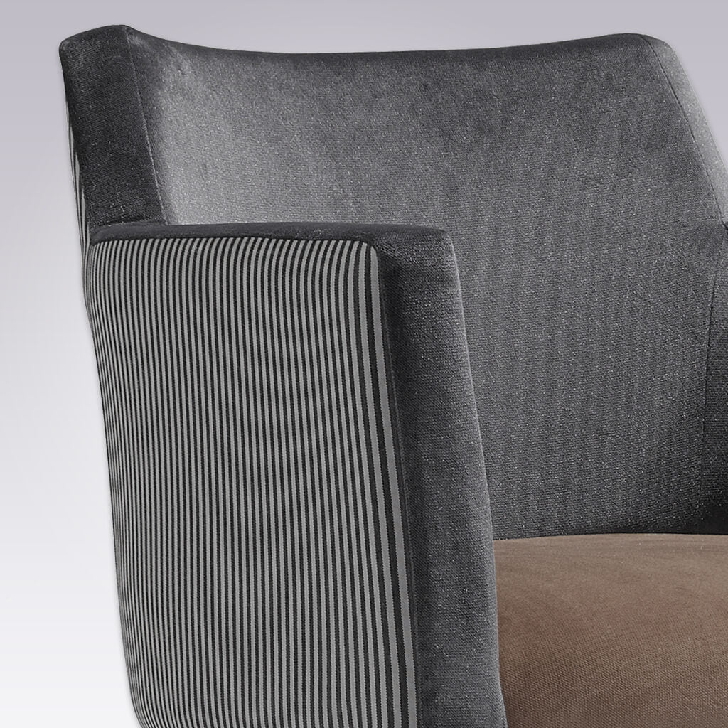 Jade Retro Grey Velvet Armchair with Show Wood Legs 4020 AC2 - Detail