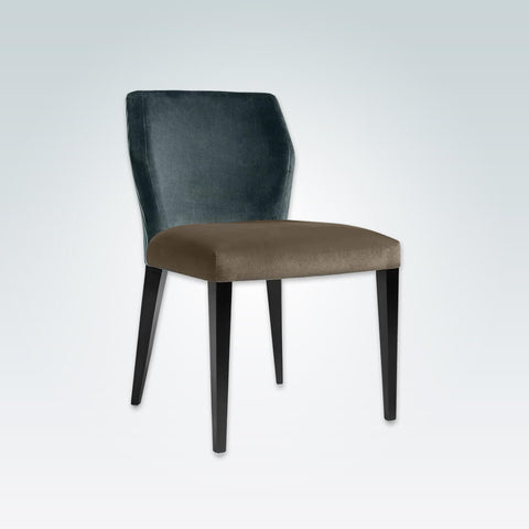 Jade Dark Teal Velvet Dining Chair Angular Backrest with Taupe Seat and Wenge Tapered Legs 3039 RC2