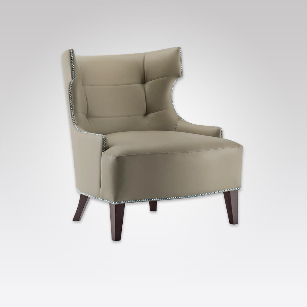 Joule Brown Lounge Chair in Faux Leather with Wing Design Studding and Deep Buttoning 1021 LC1