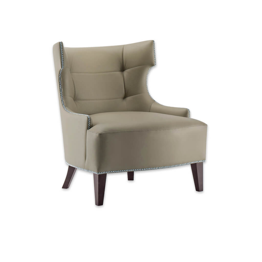 Joule Brown Lounge Chair in Faux Leather with Wing Design Studding and Deep Buttoning 1021 LC1 - Designers Image