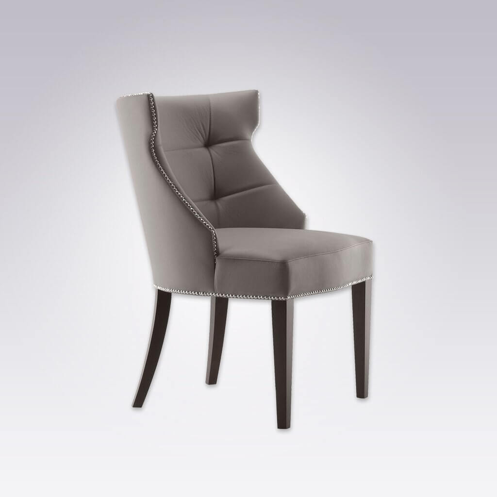 Joule  Fully Upholstered Light Grey Armchair with Curved Back and Deep Button Detail 4013 AC1