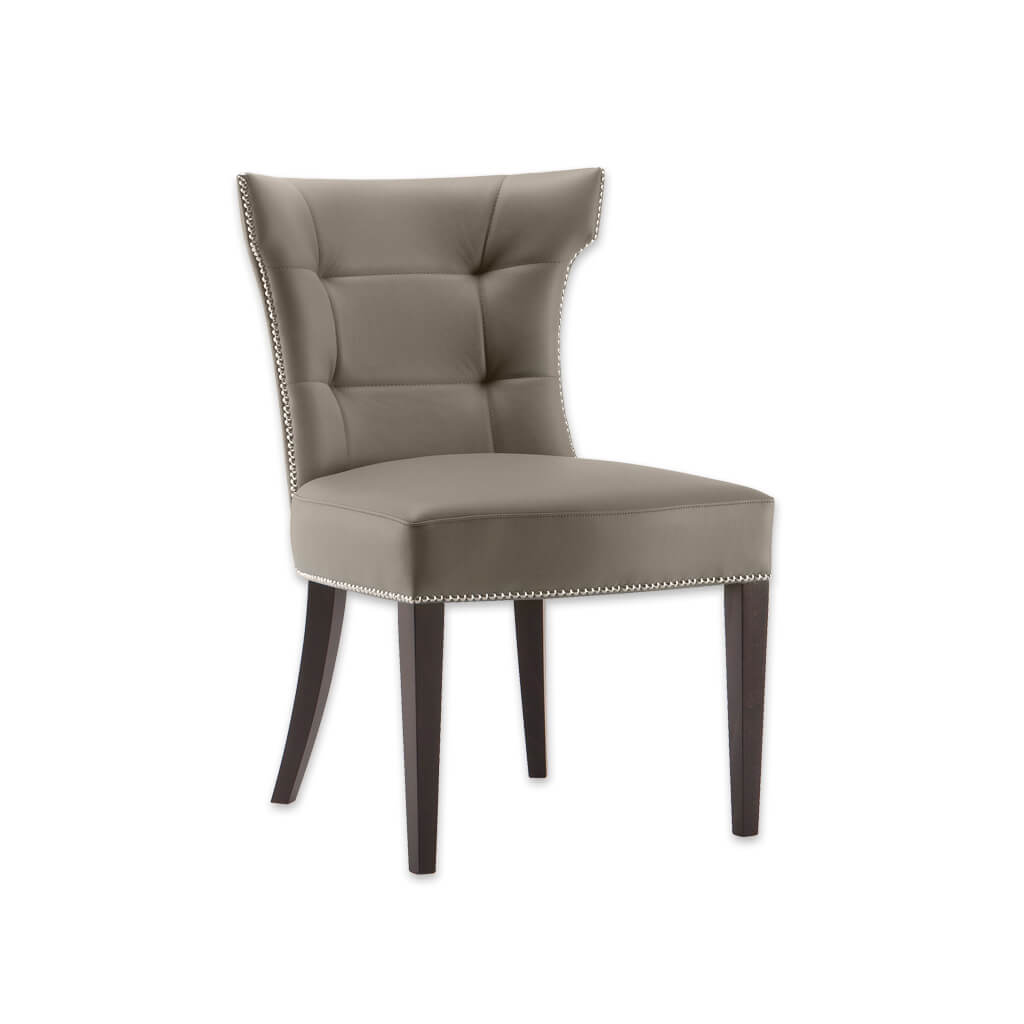 Joule Tan Leather Dining Chair Taupe Hammer Backrest Design Curved Back Legs with Deep Button Panel and Edge Stud Detailing 3026 RC1 - Designers Image