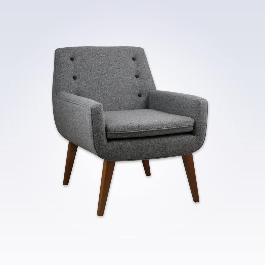 Juno Grey Fabric Tub Chair With Buttoned Back Deep Padded Seat And Tapered Legs 2056 TC1