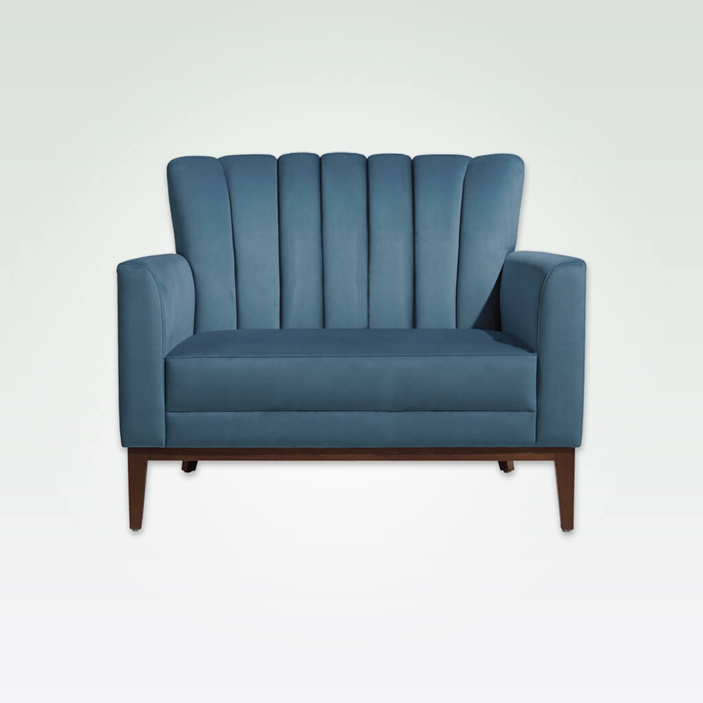 Blue hospitality sofa for hotel with flute detail to back 8023 SF1