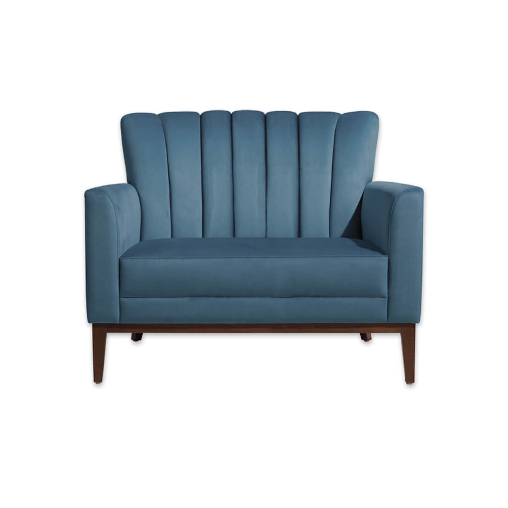 Blue hospitality sofa for hotel with flute detail to back 8023 SF1 - Designers Image