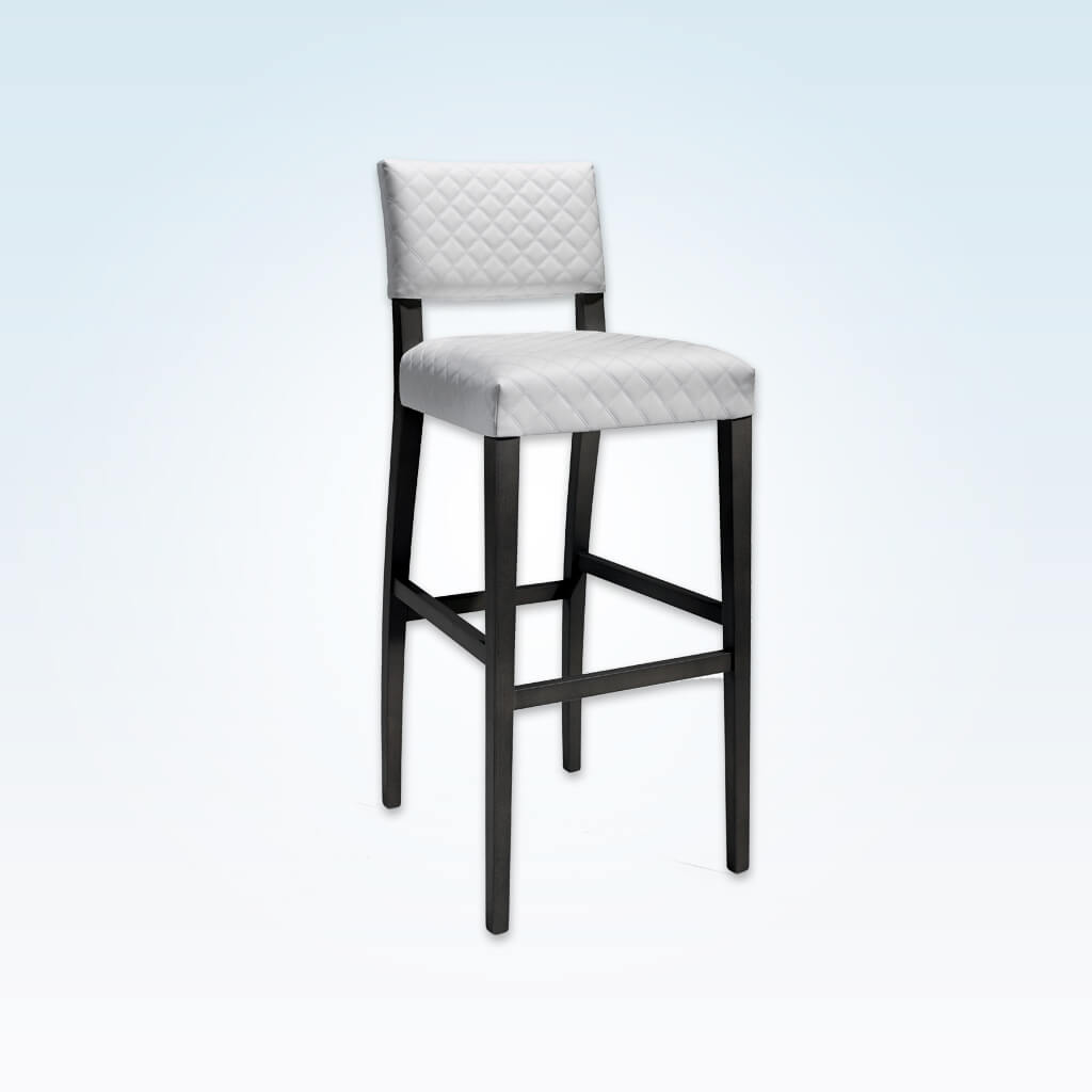 Keela white and black bar stool with textured upholstery and black wooden legs 6051 BR1