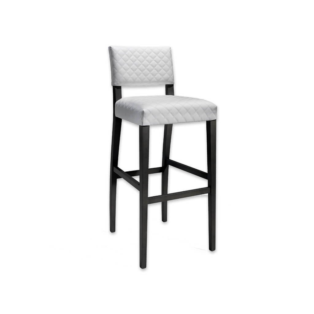 Keela white and black bar stool with textured upholstery and black wooden legs 6051 BR1 - Designers Image