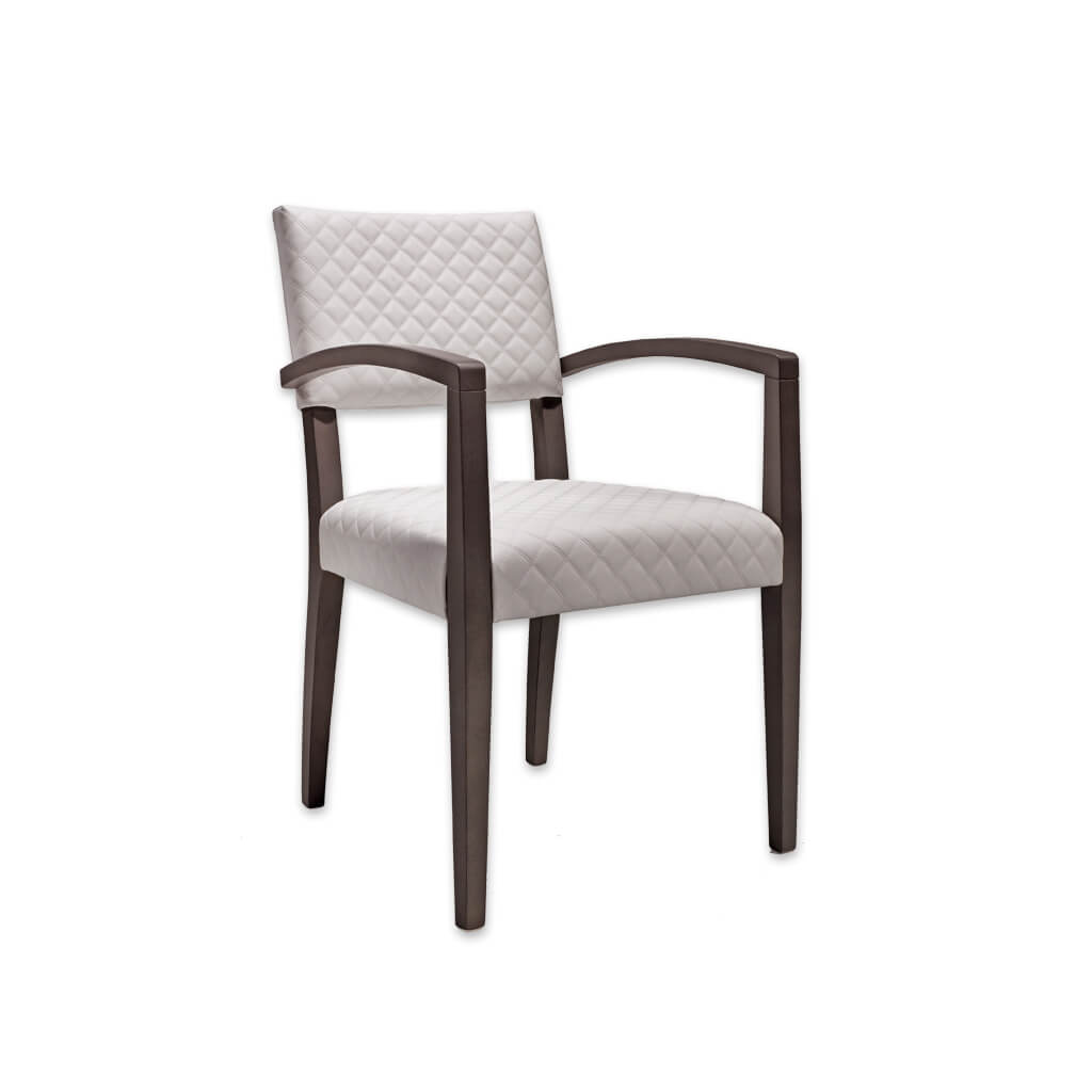 Keela White Armchair with Quilted Upholstered Seat and Back 4046 AC1 - Designers Image