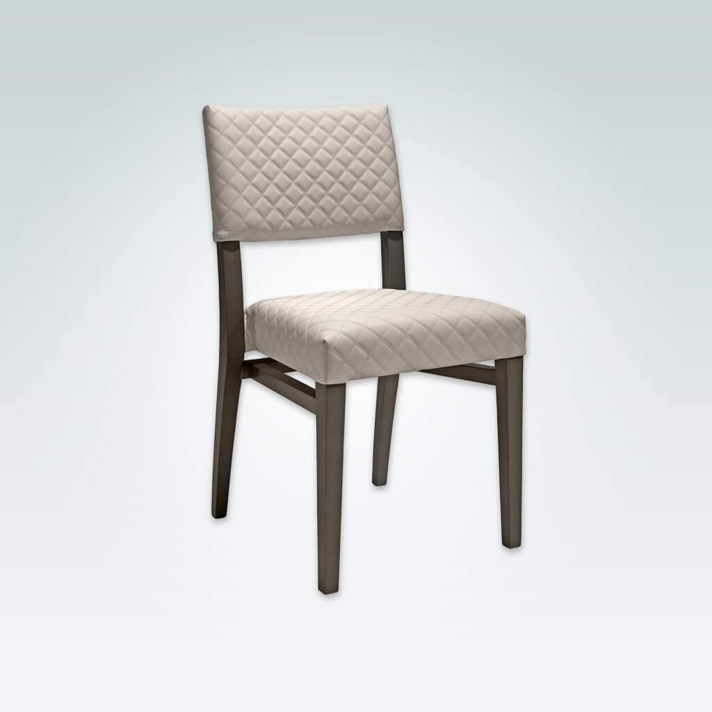 Keela Light Taupe Dining Chair with Quilted Faux Leather on Back Panel and Seat Pad with Leg Strengthening Rails 3079 RC1