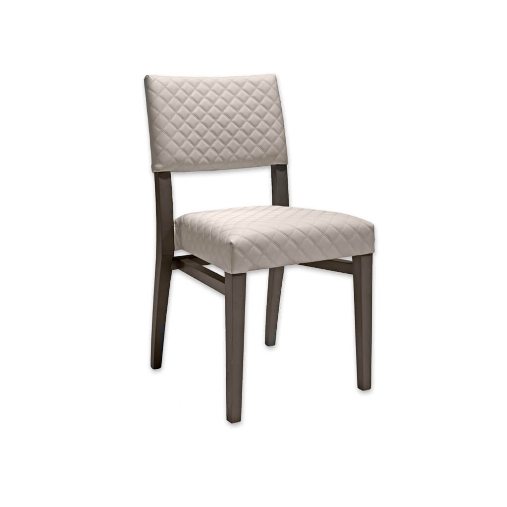 Keela Light Taupe Dining Chair with Quilted Faux Leather on Back Panel and Seat Pad with Leg Strengthening Rails 3079 RC1 - Designers Image