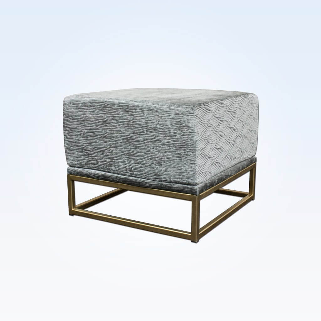 Kemi grey and gold ottoman fully upholstered cushioned top sitting on a gold open frame base 10012 OT1
