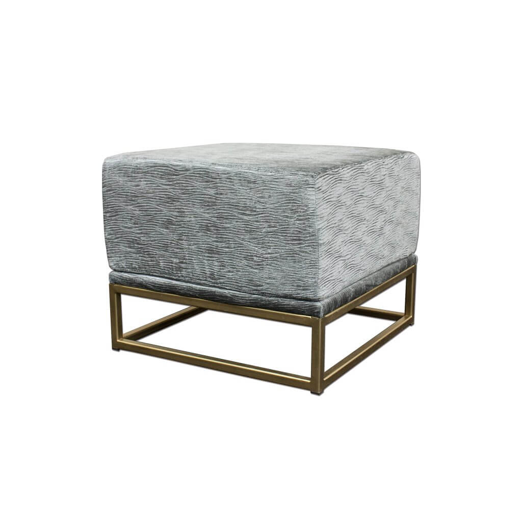 Kemi grey and gold ottoman fully upholstered cushioned top sitting on a gold open frame base 10012 OT1 - Designers Image