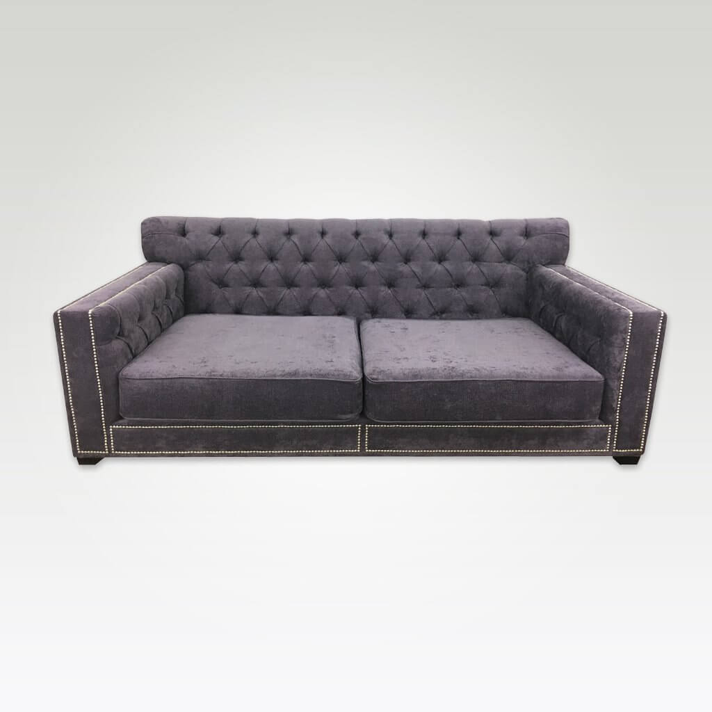 Kenzi contemporary purple 2 seater sofa bed with spacious seating and deep buttoning and studding 9003 SB1