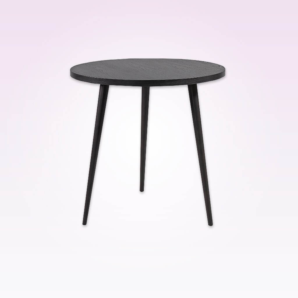Kibi grey circle dining table with three conical legs and round top. 1160