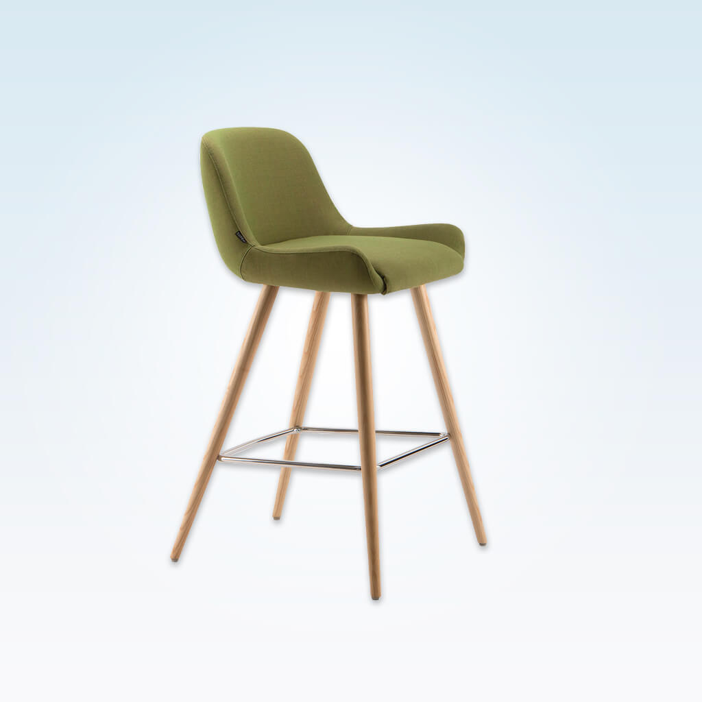 Kivi green fabric bar chairs with splayed conical legs and metal kick plate 6020 BR1