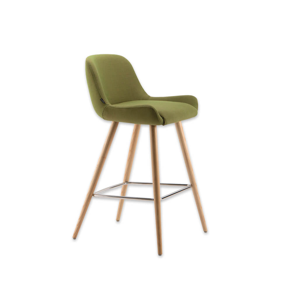 Kivi green fabric bar chairs with splayed conical legs and metal kick plate 6020 BR1 - Designers Image