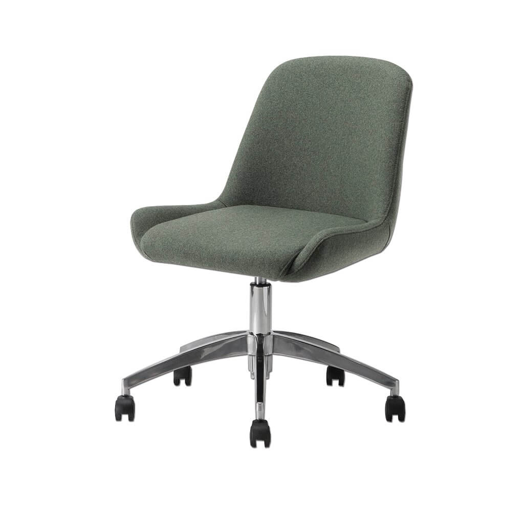 Kivi Dark Green Desk Chair with a Soft Curve Backrest and Five Star Base with Gaslift and Castors 5013 DC1 - Designers Image