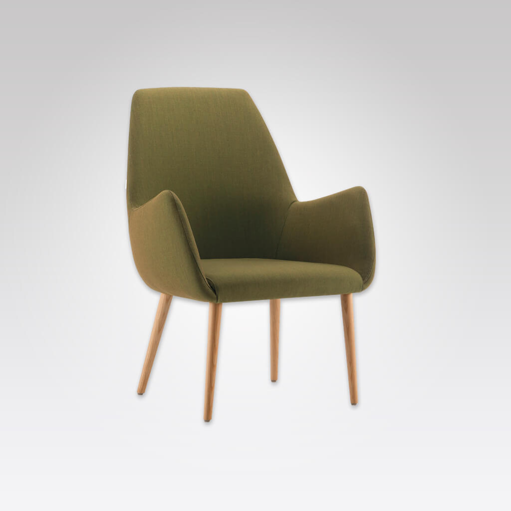 Kivi High Back Olive Green Lounge Chair with Splayed Arms and Light Conical Wooden Legs 1034 LC1