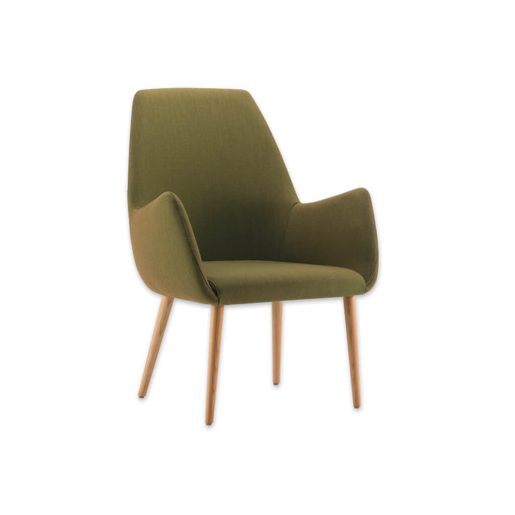 Kivi High Back Olive Green Lounge Chair with Splayed Arms and Light Conical Wooden Legs 1034 LC1 - Designers Image