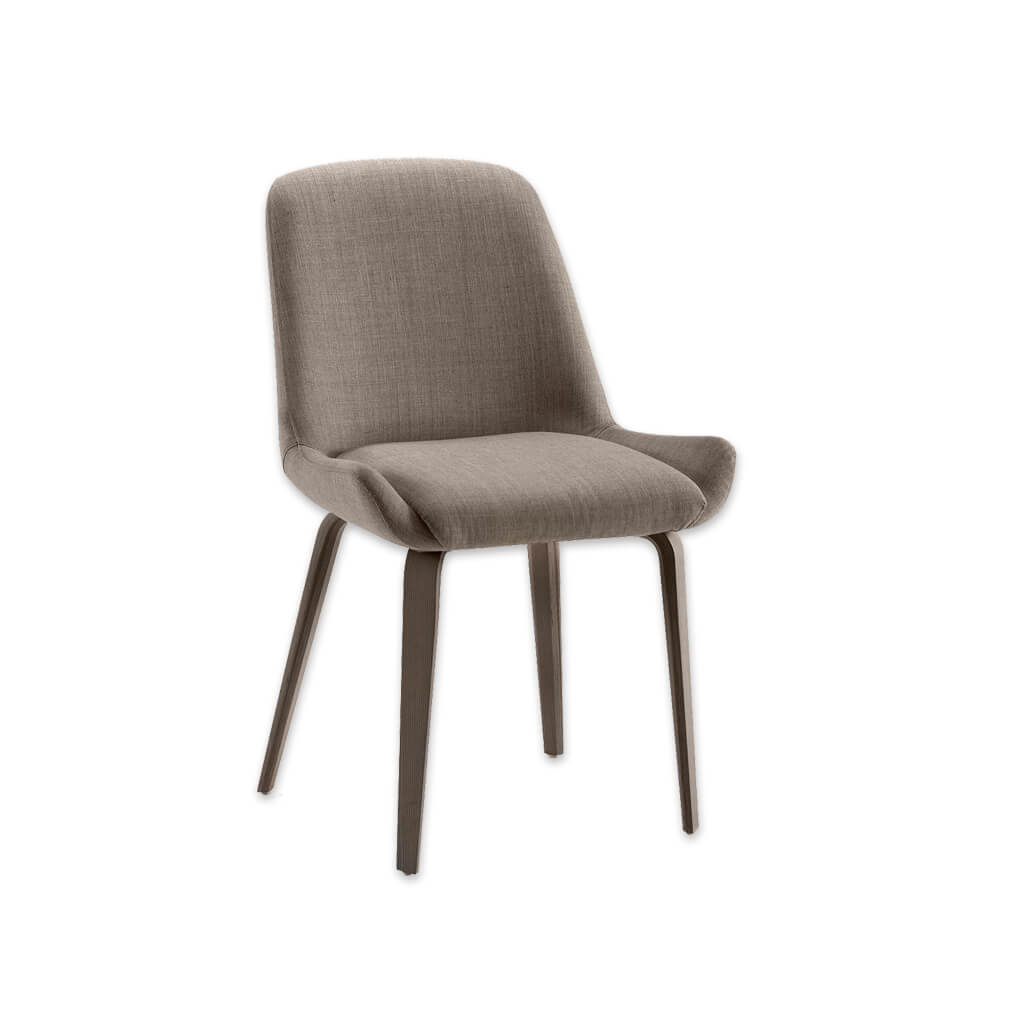 Kivi Scandinavian Brown Upholstered Dining Chair with Open Wing and Sloping Back Frame 3042 RC1 - Designers Image