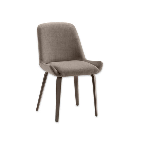 Kivi Scandinavian Brown Upholstered Dining Chair with Open Wing and Sloping Back Frame 3042 RC1
