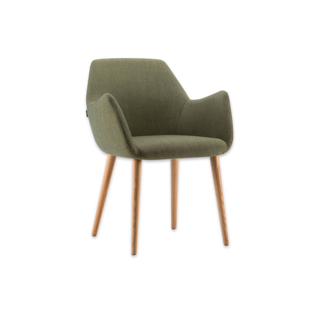 Kivi Green Fabric Tub Chair With Tall Backrest Sloping Armrests and Timber Splayed Legs 2033 TC1 - Designers Image