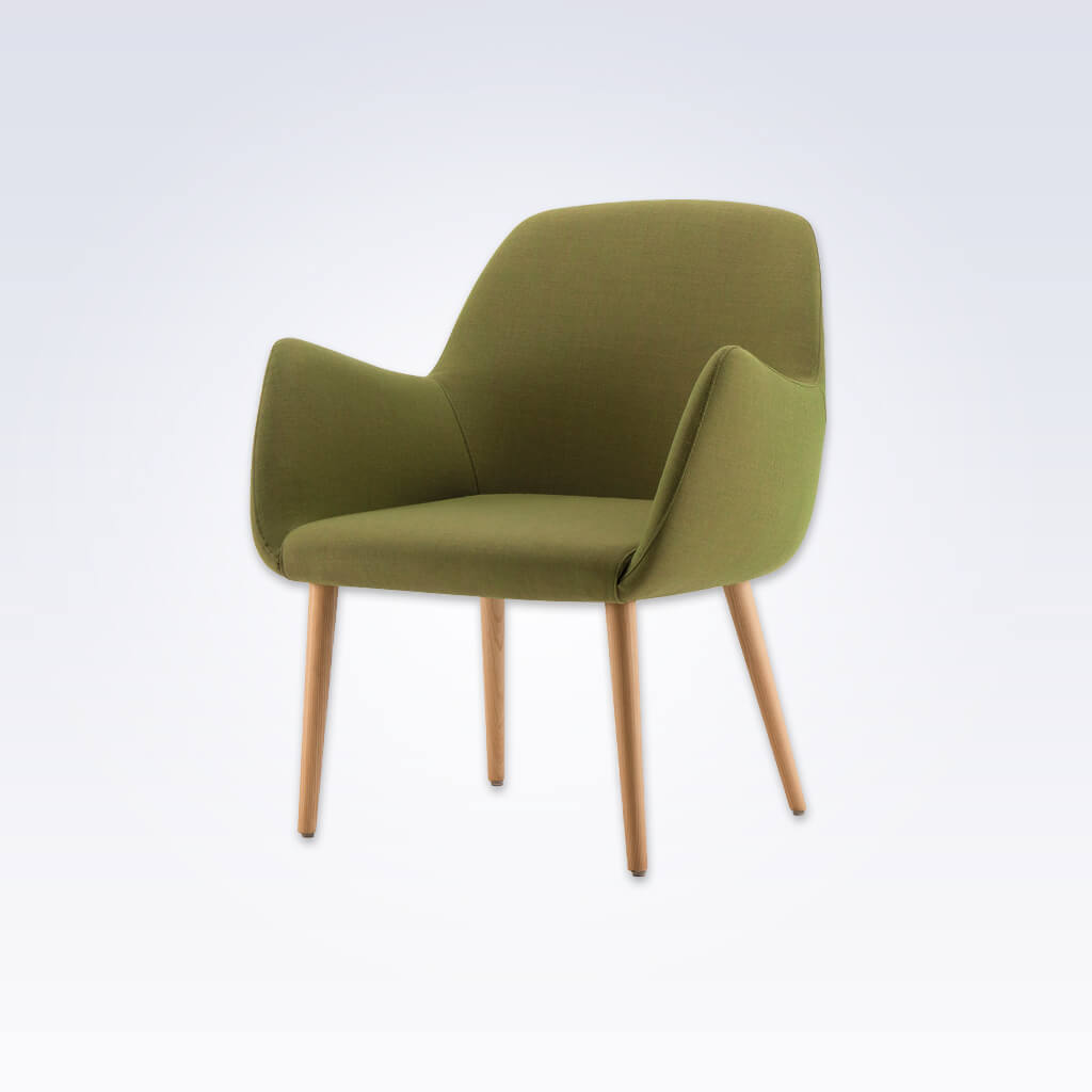 Kivi Upholstered Green Tub Chair With Sweeping Arms and Timber Splayed Legs 2033 TC2