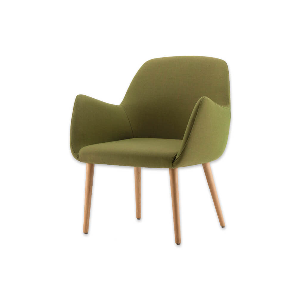Kivi Upholstered Green Tub Chair With Sweeping Arms and Timber Splayed Legs 2033 TC2 - Designers Image