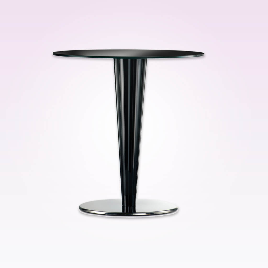 Krystal transparent dining table with conical column and round top. 4401KR