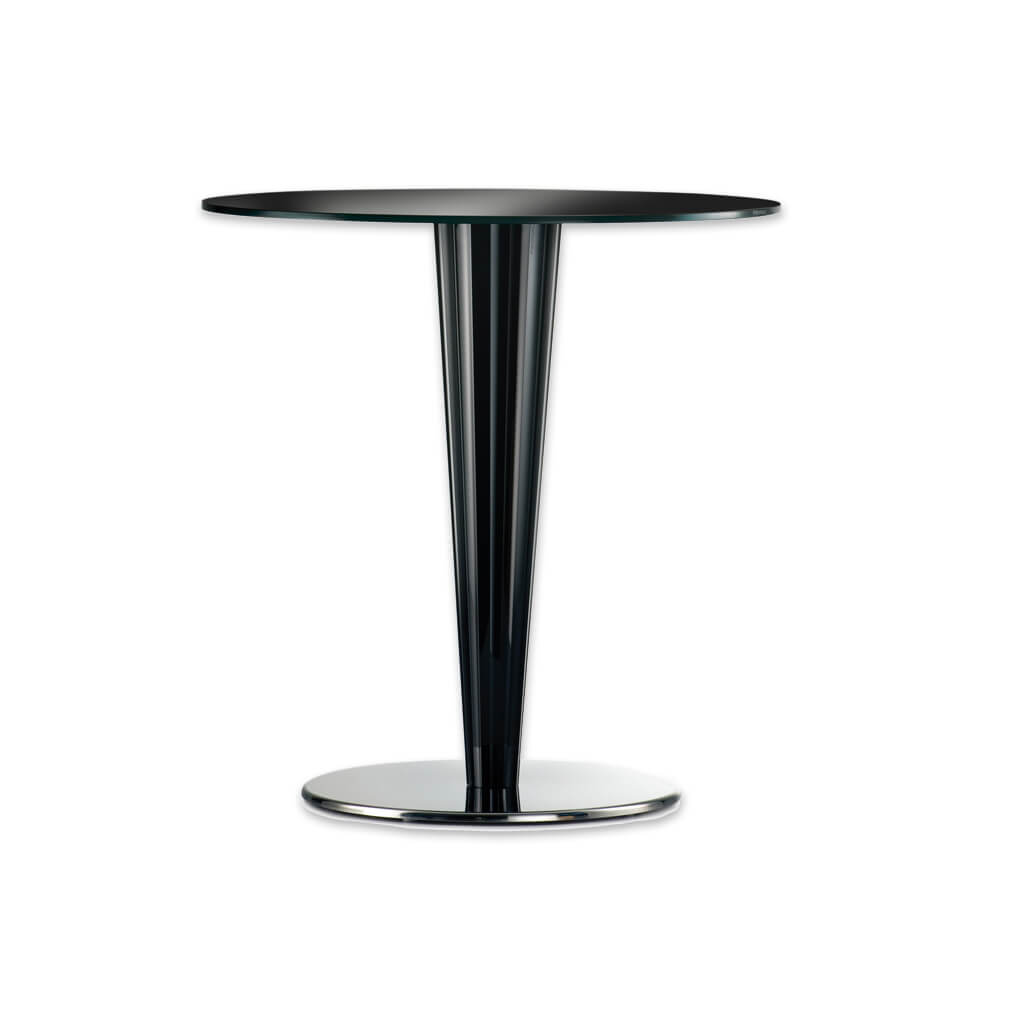 Krystal transparent dining table with conical column and round top. 4401KR - Designers Image