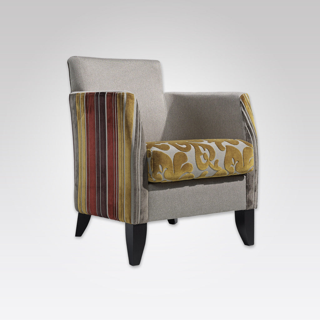 Larrie Fully Upholstered Patterned Armchair with Loose Seat Cushion and Split Fabrics 1032 LC1