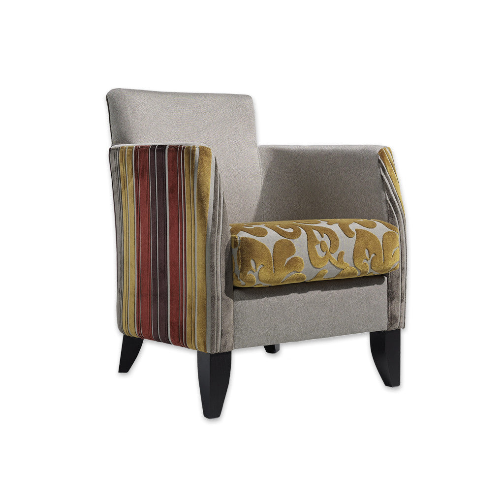 Larrie Fully Upholstered Patterned Armchair with Loose Seat Cushion and Split Fabrics 1032 LC1 - Designers Image