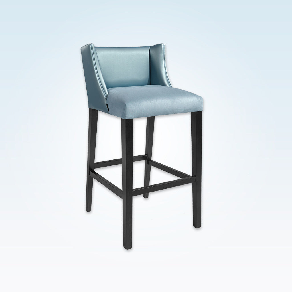 Latimer sky blue bar stools with leather upholstery to the deep padded seat and back 6005 BR1