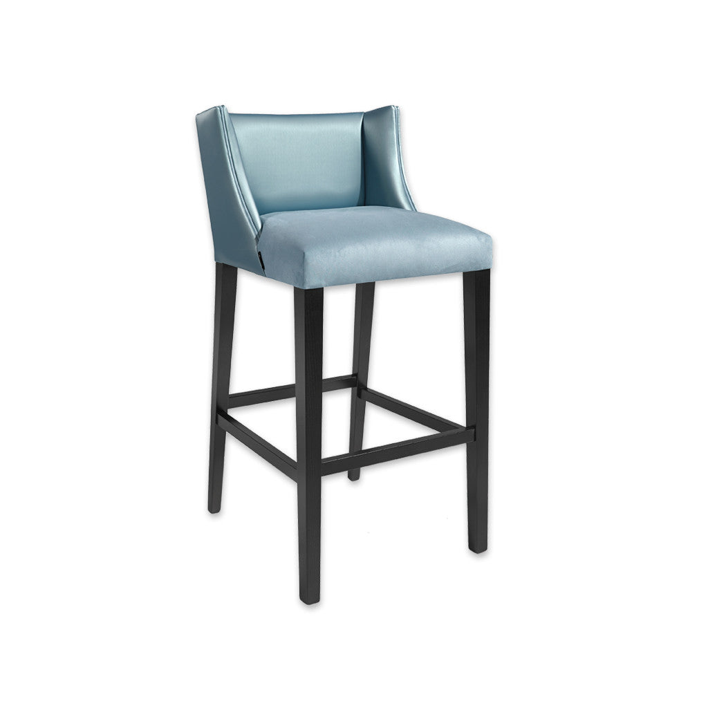 Latimer sky blue bar stools with leather upholstery to the deep padded seat and back 6005 BR1 - Designers Image