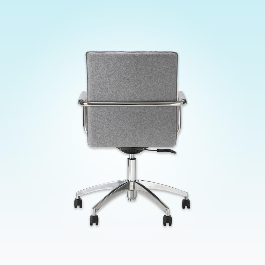Leda Grey Swivel Desk Chair with Metal Armrests and Five Star Swivel Base 5004 DC1 - Back
