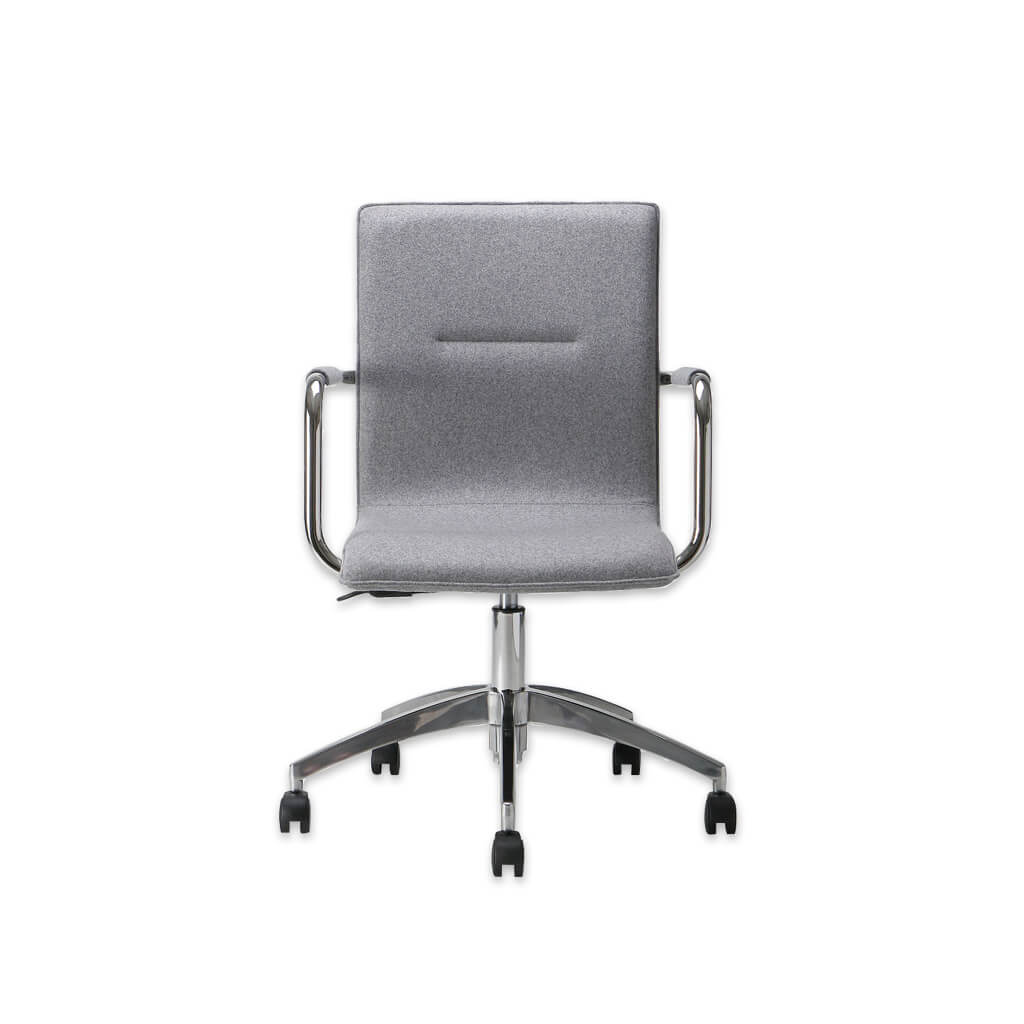 Leda Grey Swivel Desk Chair with Metal Armrests and Five Star Swivel Base 5004 DC1 - Designers Image