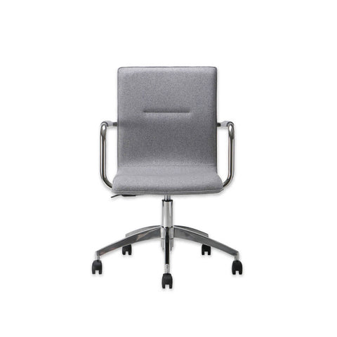 Leda Grey Swivel Desk Chair with Metal Armrests and Five Star Swivel Base 5004 DC1