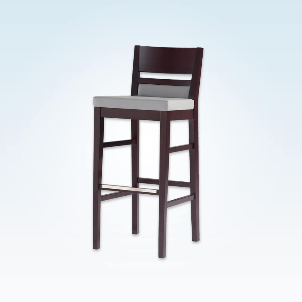 Leuven white leather bar stool with dark show wood back and wooden plinth and legs 6023 BR1