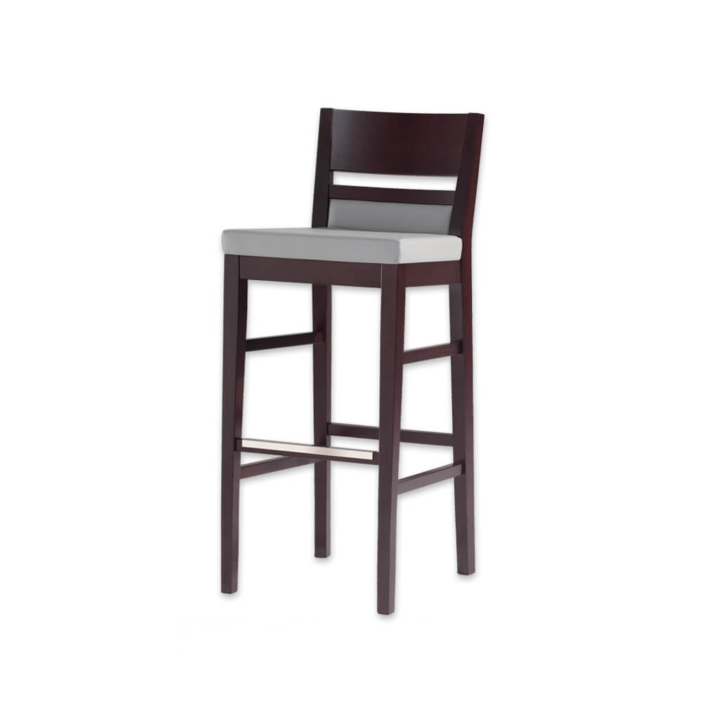 Leuven white leather bar stool with dark show wood back and wooden plinth and legs 6023 BR1 - Designers Image