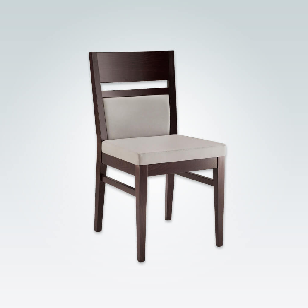 Leuven Dark Brown Dining Chair Cream Seat Pad Wooden Open Back detail and Parallel Strengthening Bars 3045 RC1