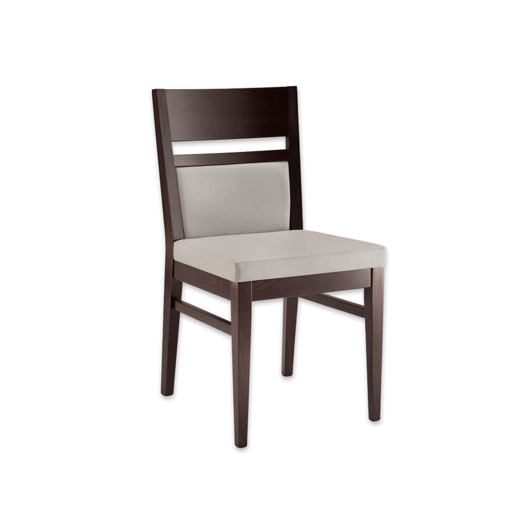 Leuven Dark Brown Dining Chair Cream Seat Pad Wooden Open Back detail and Parallel Strengthening Bars 3045 RC1 - Designers Image